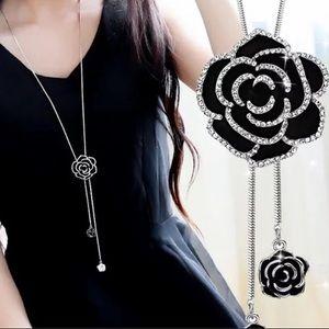 Black Rose Crystal Dangle Necklace